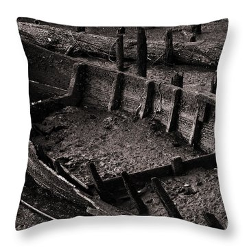 Boat Remains Throw Pillow by Carlos Caetano