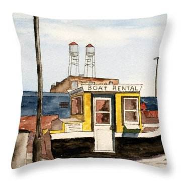 Boat Rental Near Duluth Canal Park Throw Pillow by R Kyllo