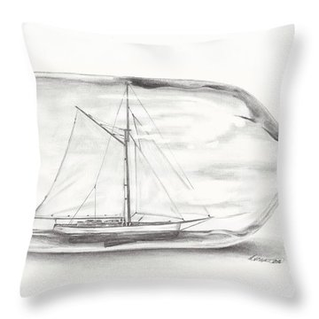 Boat Stuck In A Bottle Throw Pillow by Meagan  Visser