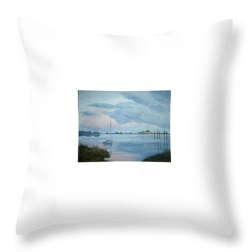 Boat Sunset Throw Pillow