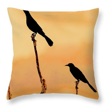 Boat Tailed Grackles Throw Pillow