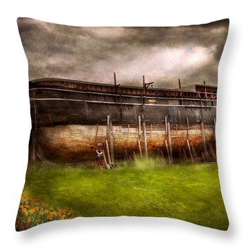 Boat - The Construction Of Noah's Ark Throw Pillow by Mike Savad