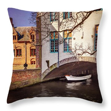 Throw Pillow featuring the photograph Boat Under A Little Bridge In Bruges  by Carol Japp