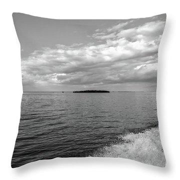 Boat Wake On Florida Bay Throw Pillow