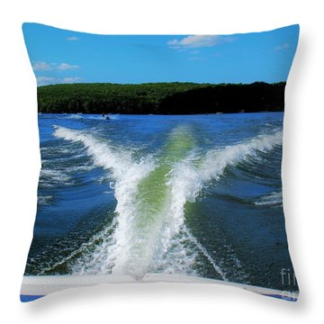 Boat Wake Throw Pillow