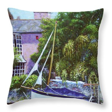 Throw Pillow featuring the painting Boat With Pink House On River by Martin Davey