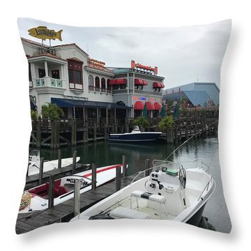 Boat Yard Throw Pillow by Michael Albright