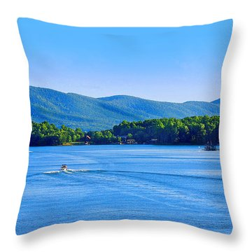 Boaters On Smith Mountain Lake Throw Pillow