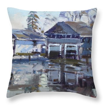 Boathouses By Icy Creek Throw Pillow