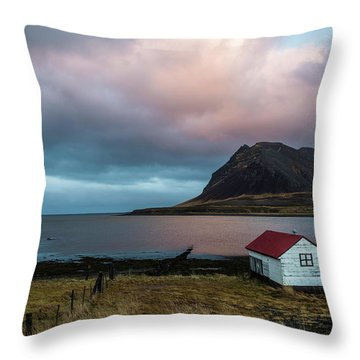 Boathouse At Sunrise Throw Pillow