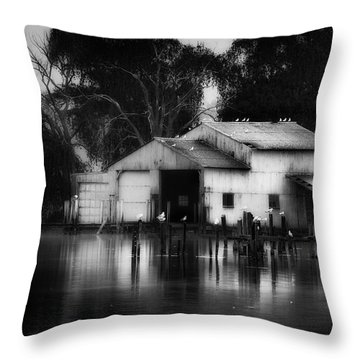 Throw Pillow featuring the photograph Boathouse Bw by Bill Wakeley
