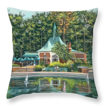Boathouse In Central Park, N.y. Throw Pillow