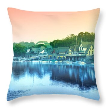 Boathouse Row Throw Pillow by Bill Cannon