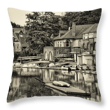 Boathouse Row In Sepia Throw Pillow by Bill Cannon