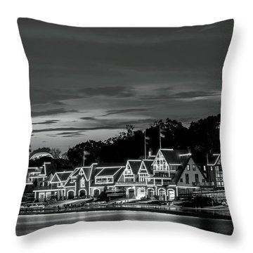 Boathouse Row Philadelphia Pa Night Black And White Throw Pillow