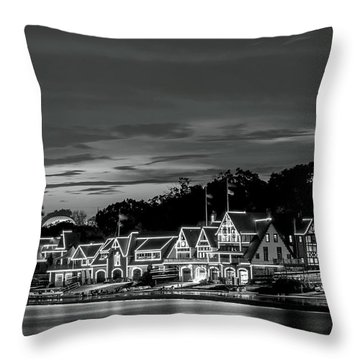 Boathouse Row Philadelphia Pa Night Black And White Throw Pillow