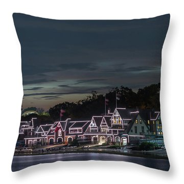 Boathouse Row Philly Pa Night Throw Pillow by Terry DeLuco