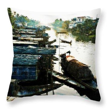 Boathouses In Vietnam Throw Pillow
