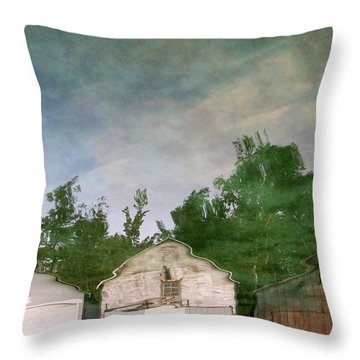 Boathouses With Sky And Trees Throw Pillow by Michelle Calkins