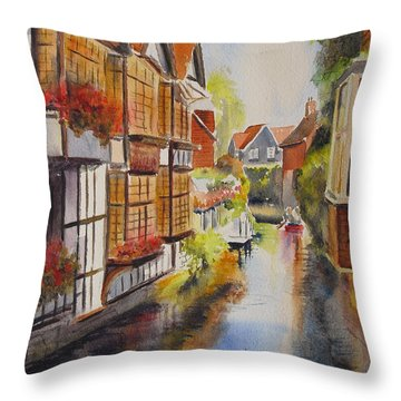 Throw Pillow featuring the painting Boating In Canterbury by Beatrice Cloake