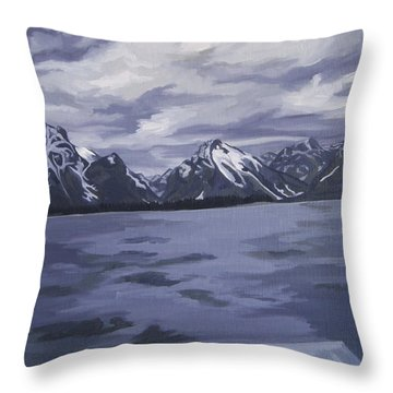 Throw Pillow featuring the painting Boating Jenny Lake, Grand Tetons by Erin Fickert-Rowland
