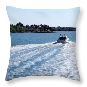 Throw Pillow featuring the photograph Boating On Naples' Inland Waterway by Lars Lentz