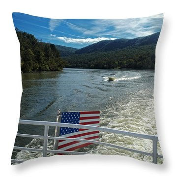 Boating On The River Throw Pillow