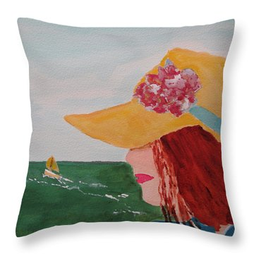 Throw Pillow featuring the painting Boating by Sandy McIntire
