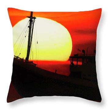 Boatman Enjoying Sunset Throw Pillow