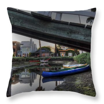 Boats And Bridge Throw Pillow