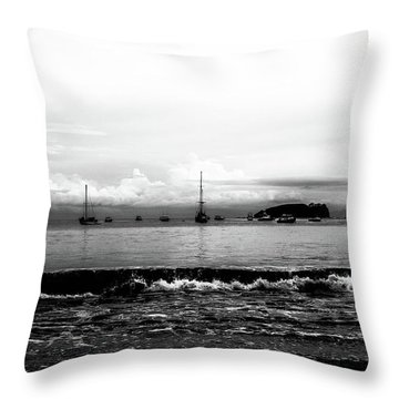 Boats And Clouds Throw Pillow