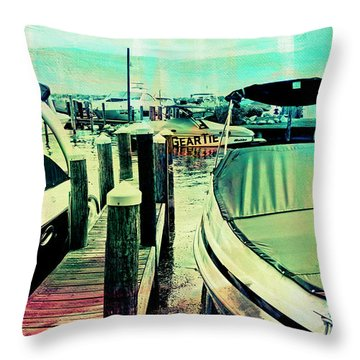 Boats And Dock Throw Pillow