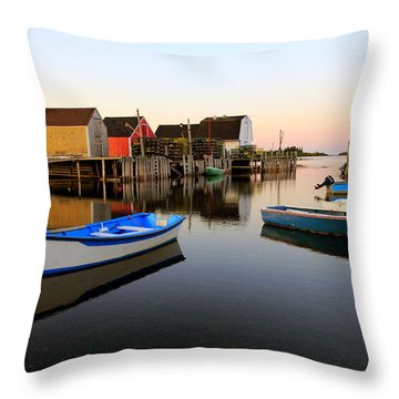 Boats And Fish Shacks At Blue Rocks, Nova Scotia Throw Pillow
