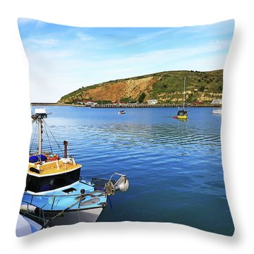 Throw Pillow featuring the photograph Boats At Friendly Bay by Nareeta Martin