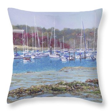 Throw Pillow featuring the painting Boats At Hamble Marina by Martin Davey