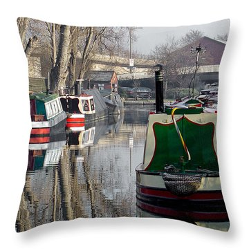 Boats At Horninglow Basin Throw Pillow by Rod Johnson