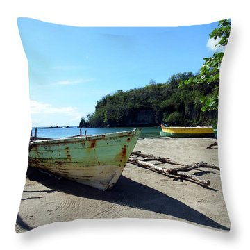 Throw Pillow featuring the photograph Boats At La Soufriere, St. Lucia by Kurt Van Wagner