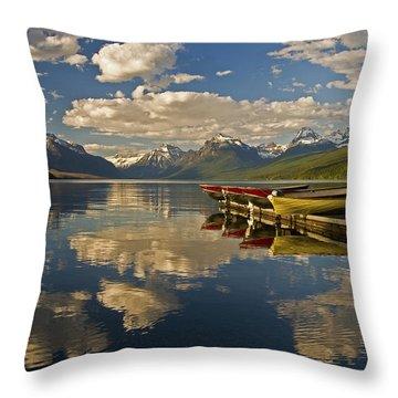 Boats At Lake Mcdonald Throw Pillow