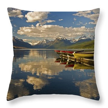 Boats At Lake Mcdonald Throw Pillow by Gary Lengyel