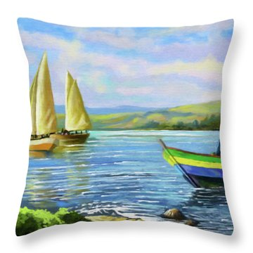 Throw Pillow featuring the painting Boats At Lake Victoria by Anthony Mwangi