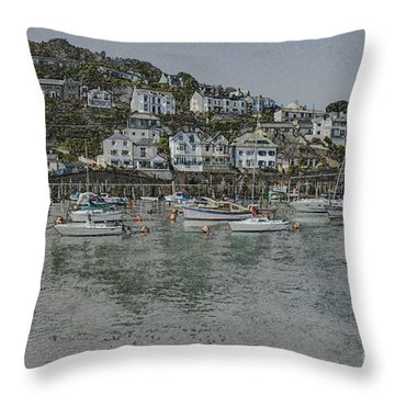 Throw Pillow featuring the photograph Boats At Looe by Brian Roscorla