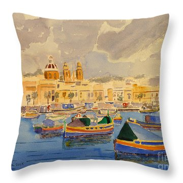 Boats At Marsaxlokk Throw Pillow