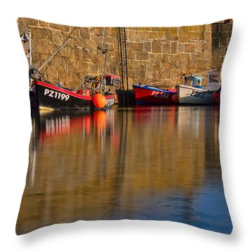 Boats At Mousehole Throw Pillow
