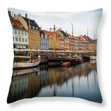Boats At Nyhavn In Copenhagen Throw Pillow