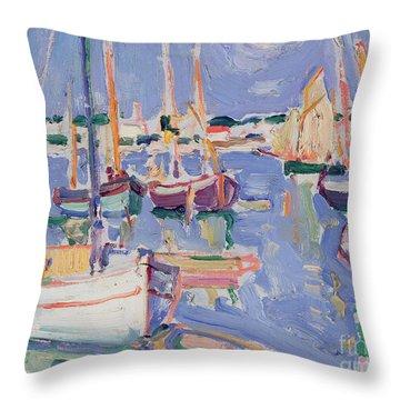 Boats At Royan Throw Pillow by Samuel John Peploe
