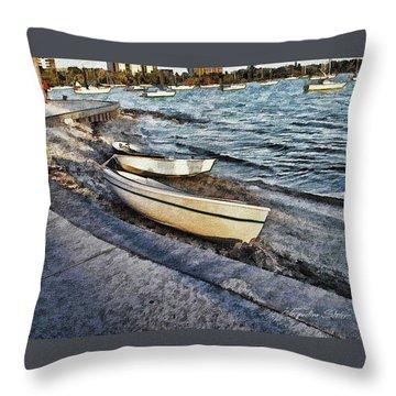 Boats At The Bay Throw Pillow