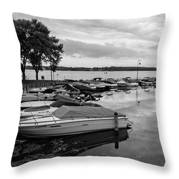 Boats At Wayzata Throw Pillow