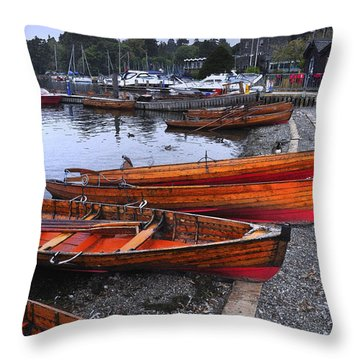 Boats At Windermere Throw Pillow