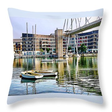 Throw Pillow featuring the photograph Boats Becalmed Rvd by Jack Torcello