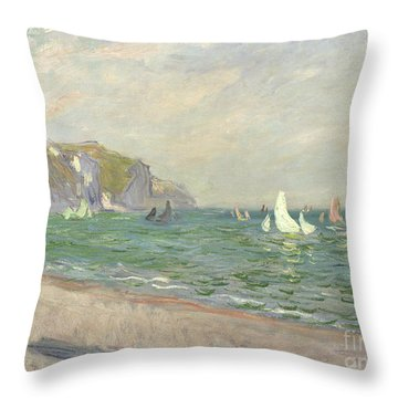 Boats Below The Cliffs At Pourville Throw Pillow